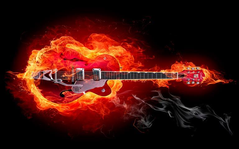 Фотообои искусство музыка гитара огонь