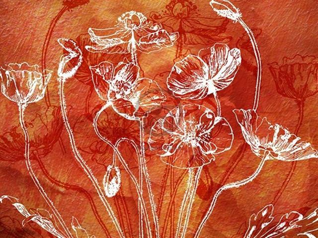 Фотообои фреска, цветы, дизайн, арт