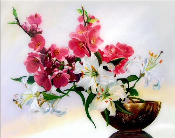 Фотообои цветы, дизайн, ваза, арт