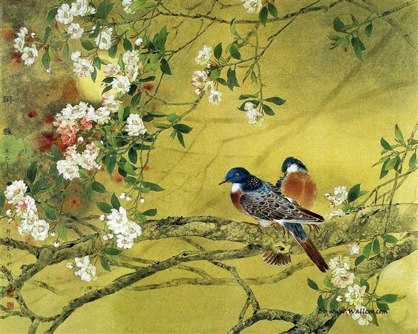Фотообои искусство ветка птица арт