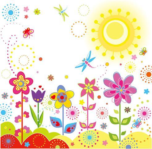 Фотошпалери малюнок квіти дитячий арт