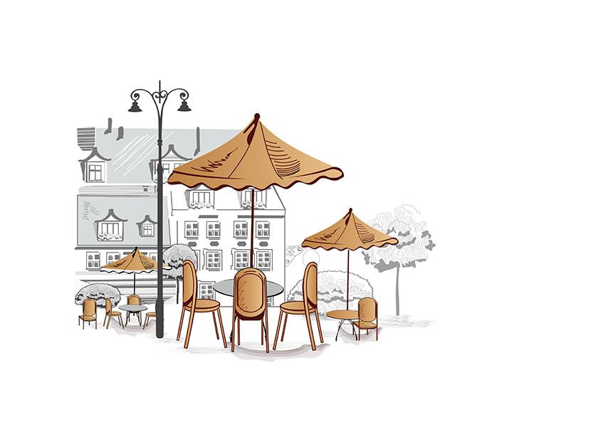 Фотообои кафе улица улица иллюстрация