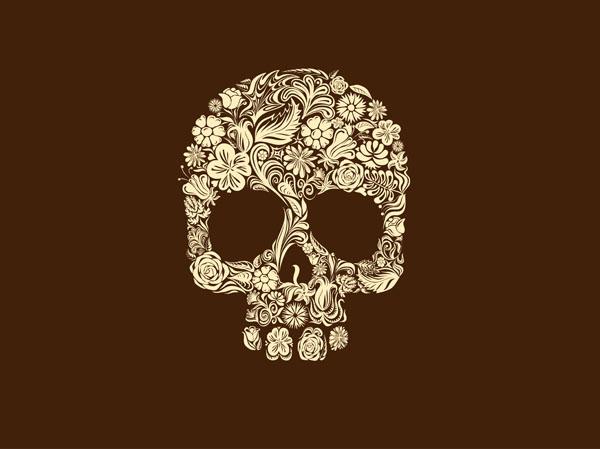 Фотошпалери череп квіти арт коричневий