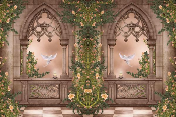 Фотообои галерея цветы арт колонны