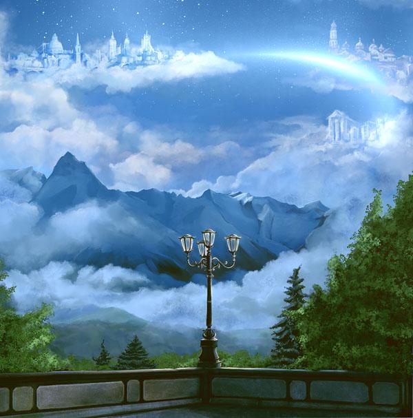 Фотообои волшебный небо фонарь перила