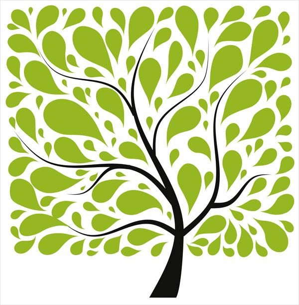 Фотошпалери дерево мінімализм зелений малюнок