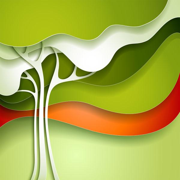 Фотошпалери дерево аплікація зелений імітация