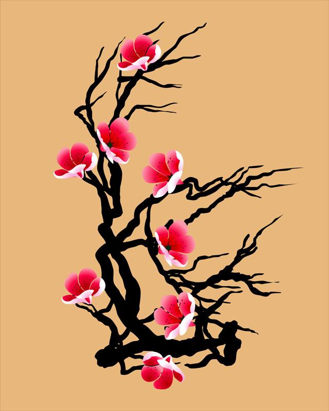 Фотообои восток цветок ветка япония