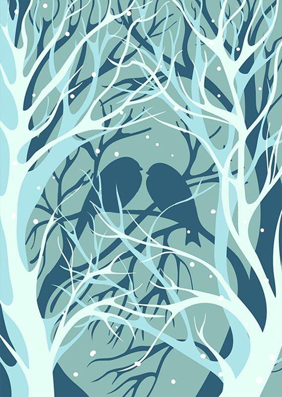 Фотообои птицы любовь ветки дерево