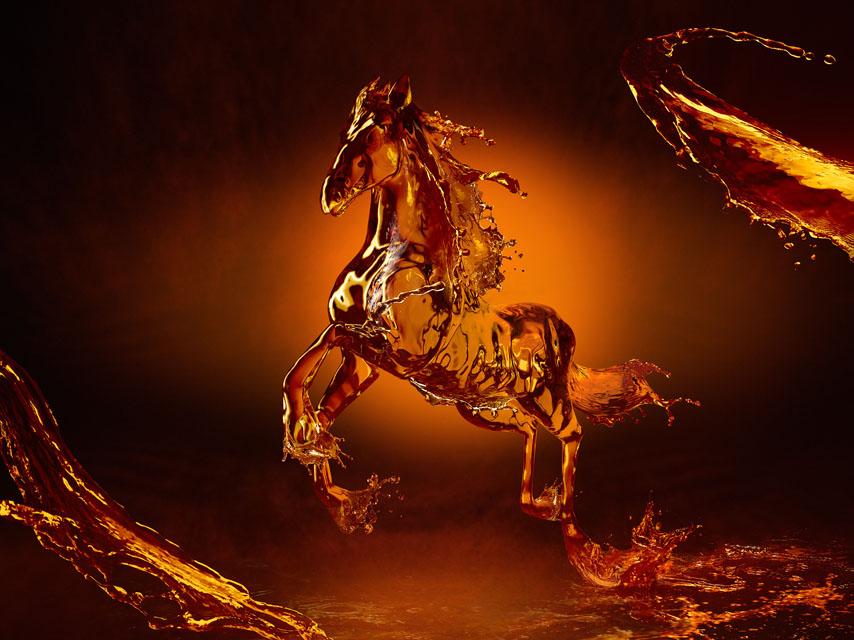 Фотообои лошадь конь огненный прозрачный
