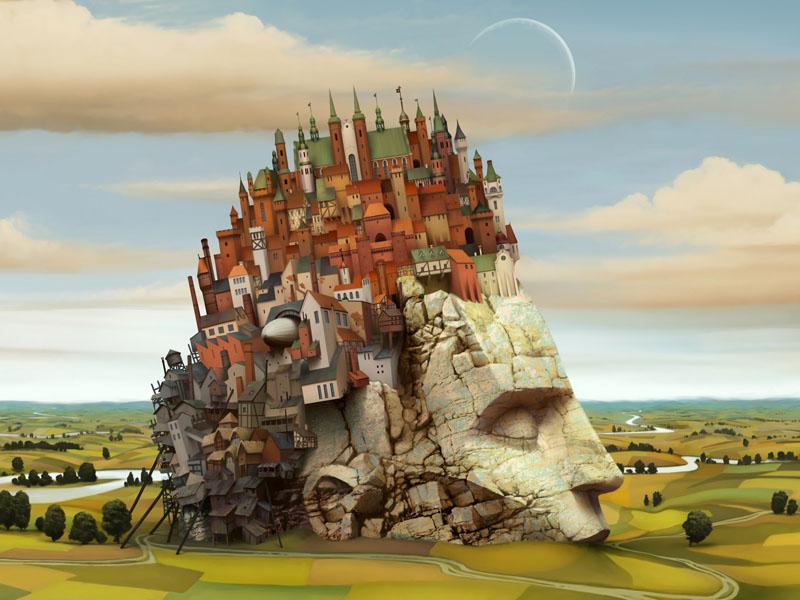 Фотошпалери місто голова статуя сюреалізм