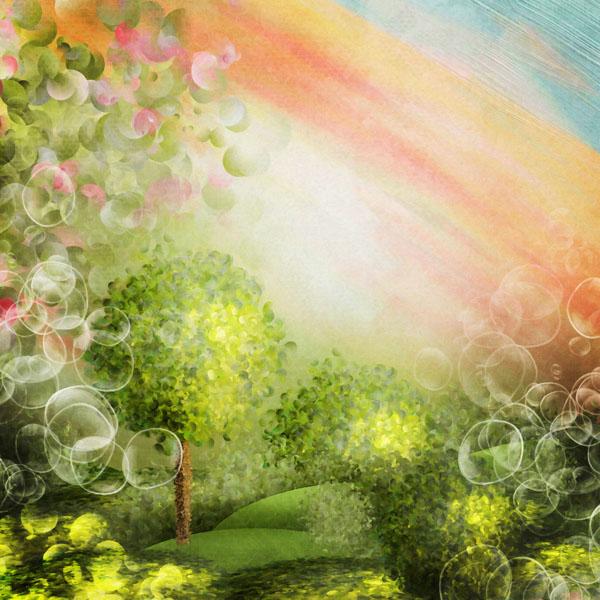 Фотошпалери абстракція сад райдуга бульбашки