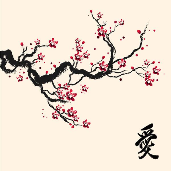 Фотообои арт восток абстракция сакура
