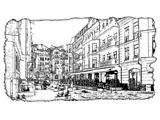 digital mural wallpaper, арт, сктч, рисунок, город