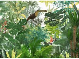 digital mural wallpaper, тропики, птица, лес, арт