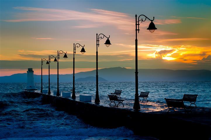 Фотошпалери море, пальма, океан, фонар