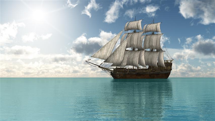 Фотошпалери море корабель океан небо