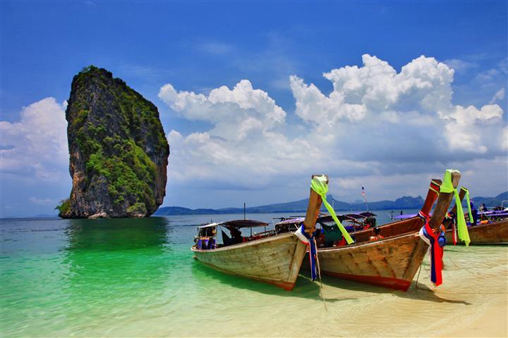 Фотошпалери море човен океан пляж