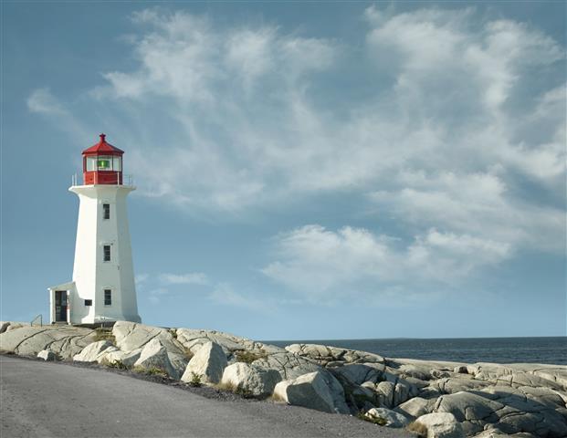 Фотообои море маяк камни небо