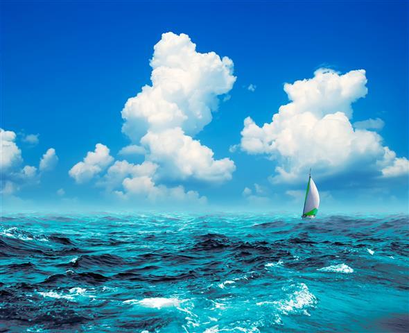 Фотообои море корабль океан небо