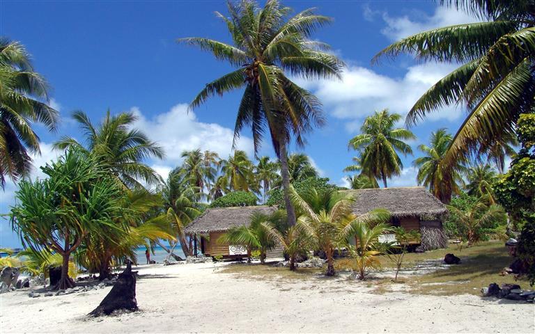 Фотошпалери море пальма відпочинок бунгало