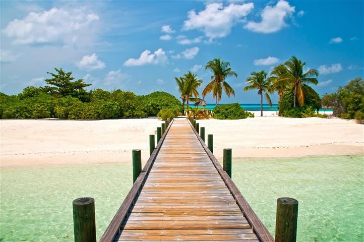Фотообои океан пальма пирс пляж