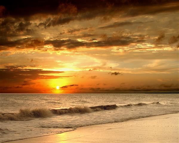 Фотошпалери море захід сонця океан пляж