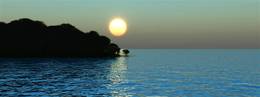 Фотообои море закат горы океан