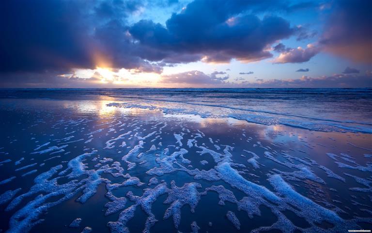 Фотошпалери море захід сонця хвиля океан