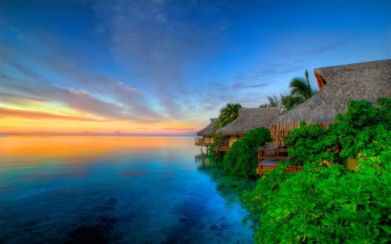 Фотообои море закат океан бунгало