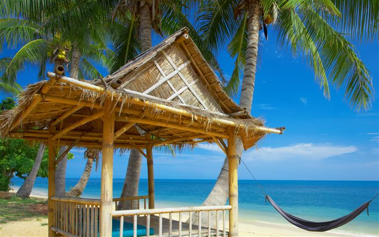 Фотошпалери океан, пальма, бунгало, гамак