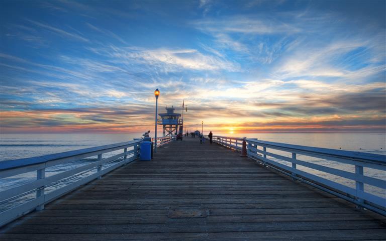Фотообои океан пирс закат небо