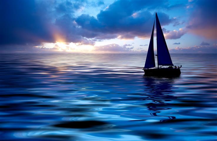 Фотообои океан корабль закат небо
