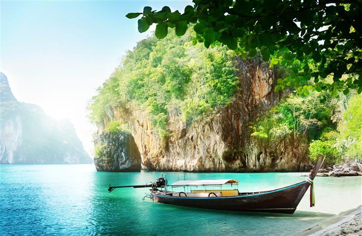 Фотообои море лодка океан пляж