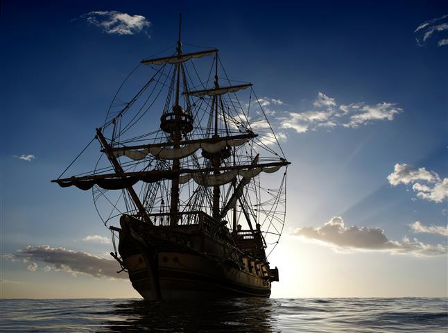 Фотообои море корабль океан закат