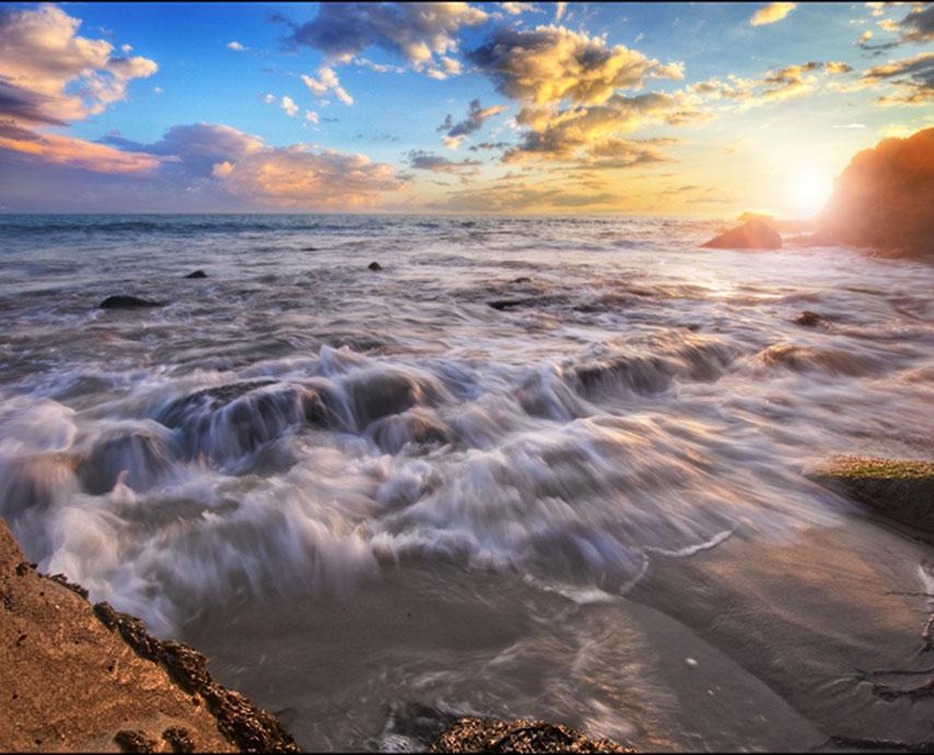 Фотошпалери океан хвиля камені захід сонця