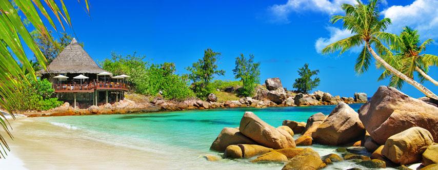 Фотошпалери море камені пальма бунгало