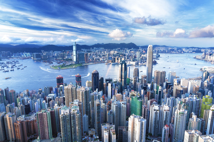 Фотообои город небоскреб Гонконг вид