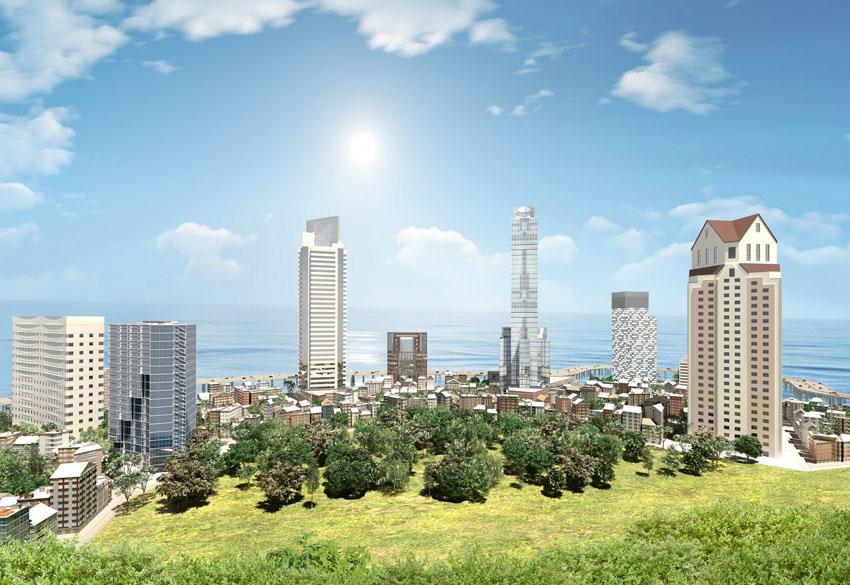 Фотообои абстрактный город небоскребы мегаполис