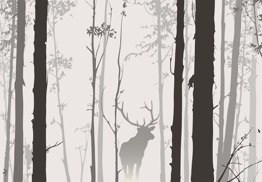 Фотообои лес, деревья, олень, туман