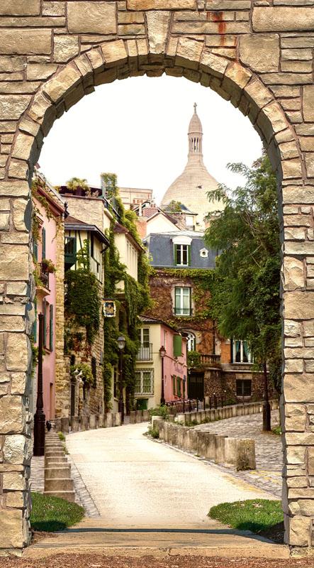Фотообои фреска улочка париж арка
