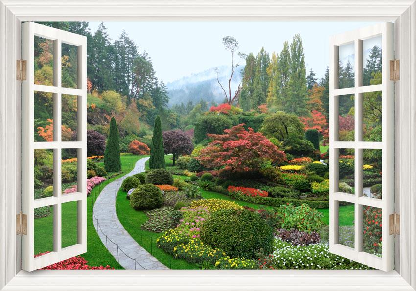 фотообои вид из окна в сад никогда задумывались, где