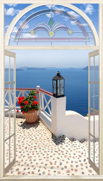 Фотошпалери вікно тераса море вузький