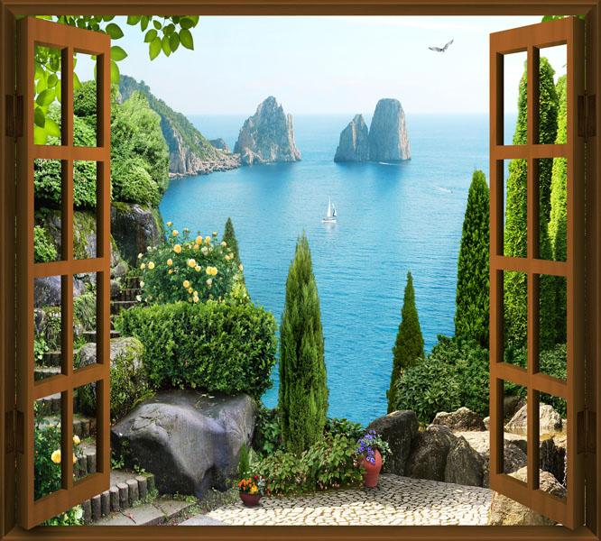Фотообои окно коричневое морской пейзаж бухта
