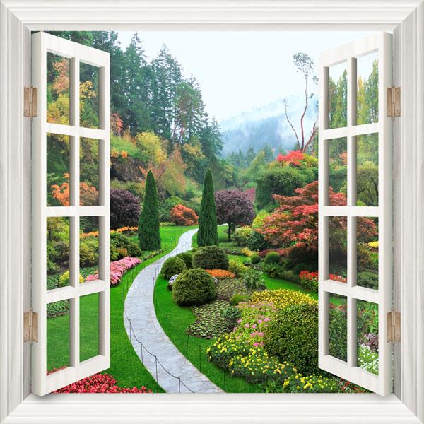 Фотообои окно  пейзаж парк цветы