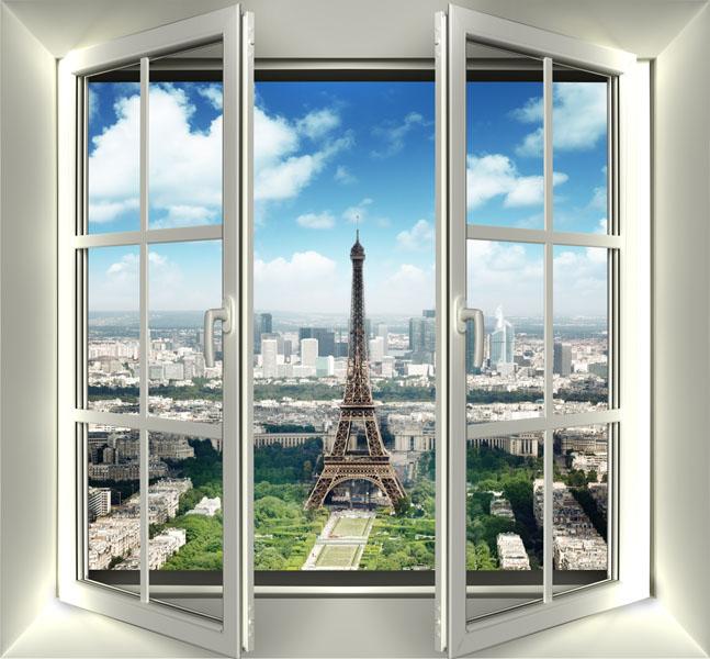 Фотообои вид окно Париж Эйфелева