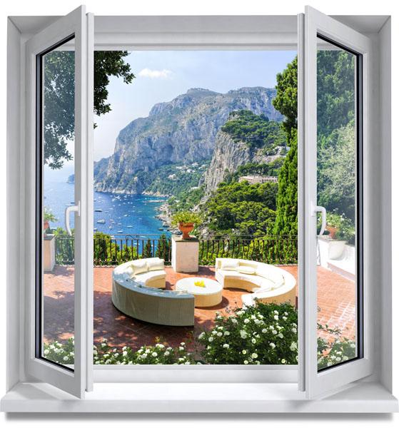 Фотообои вид окно терраса бухта