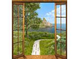 digital mural wallpaper, балкон, лужайка, тропинка, море