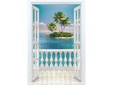digital mural wallpaper, балкон, вид, море, остров