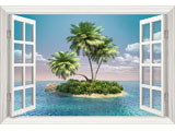 digital mural wallpaper, окно, море, остров, пальмы
